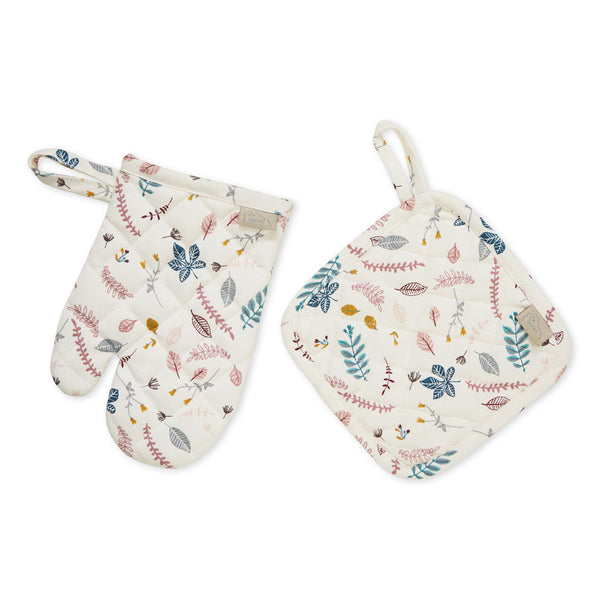 Kids Oven Glove and Pot Holder Play set - OCS Pressed Leaves Rose