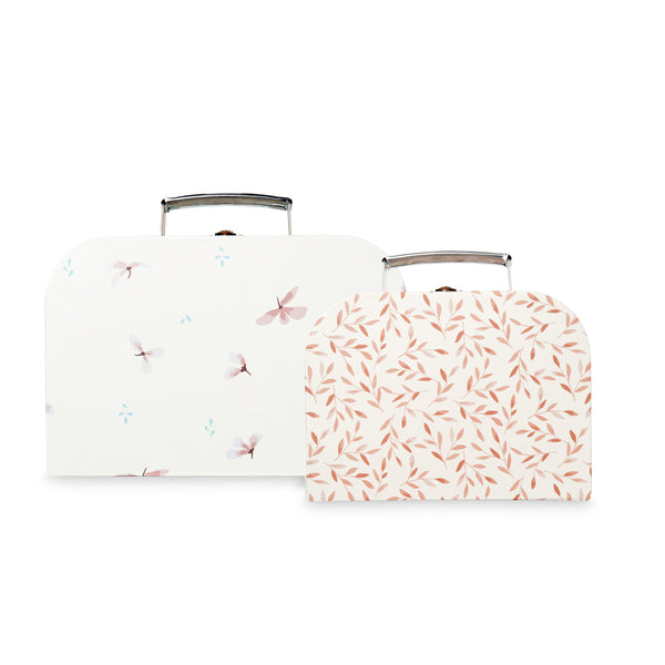 Kids Suitcases,  Set of 2, FSC Mix - Mix Windflower Creme, Caramel Leaves