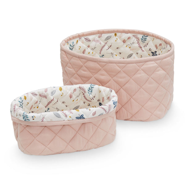 Quilted Storage Basket, Set of Two - OCS Blossom Pink