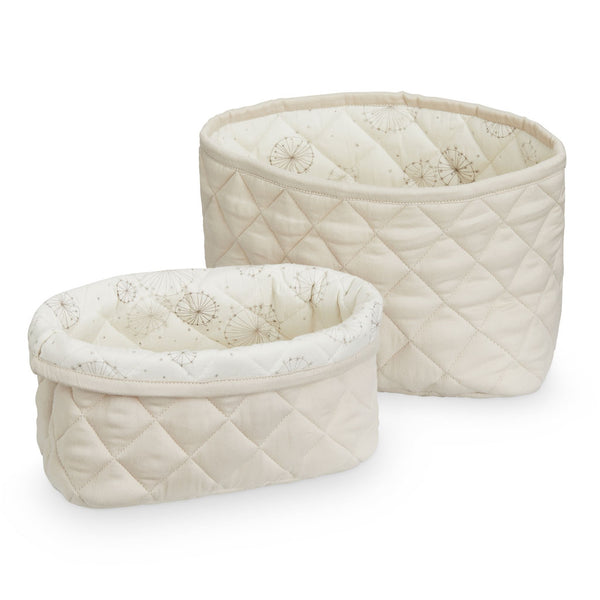Quilted Storage Basket - Set of Two - OCS Light Sand