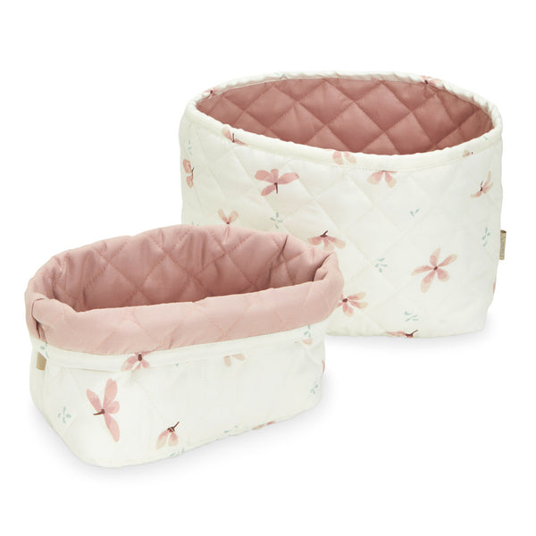 Quilted Storage Basket, Set of Two - OCS Windflower Creme