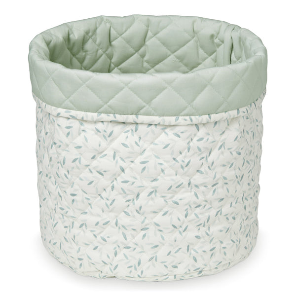 Quilted Storage Basket, Medium - OCS Green Leaves