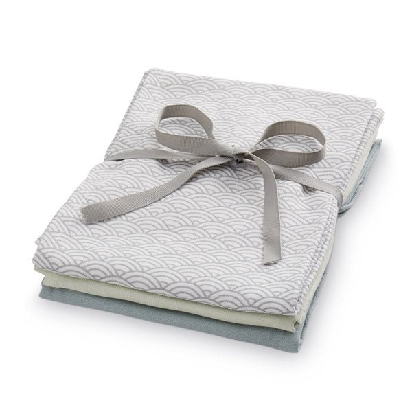 Muslin Cloth, Mix 3 Pack - GOTS Mix Grey Wave Medium, Petroleum, Mint