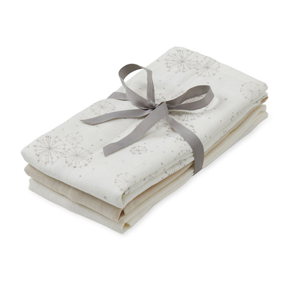 Muslin Cloth, 3 pack - GOTS Mix Dandelion Natural, Light Sand, Creme White