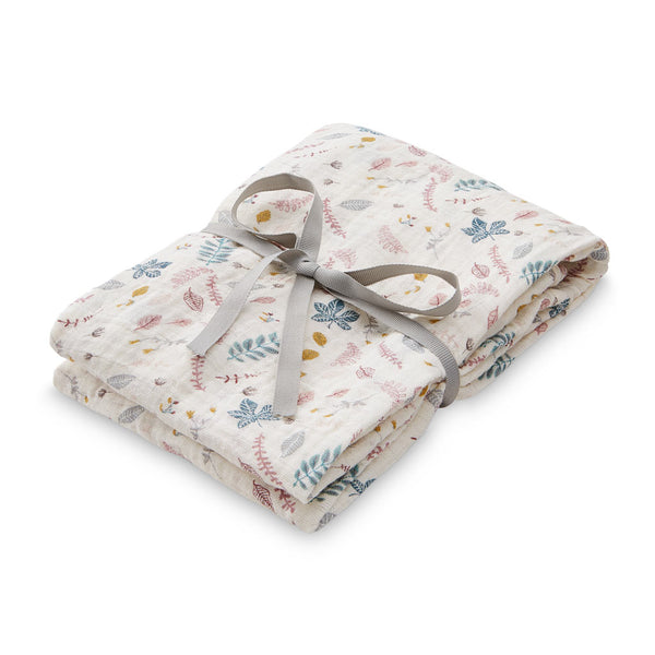 Printed Swaddle, Light - GOTS Pressed Leaves Rose