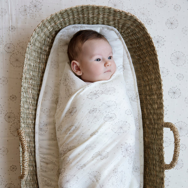 Printed Swaddle, Light - GOTS Dandelion Natural
