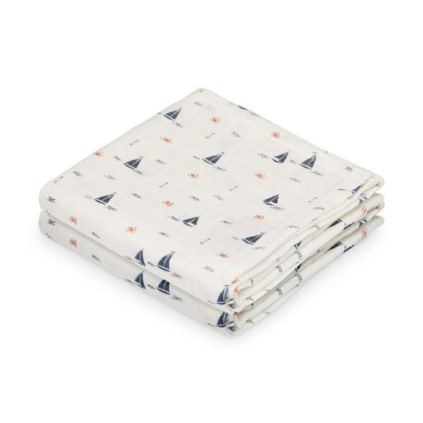 Muslin Cloth, 2-pack - GOTS Sailboats