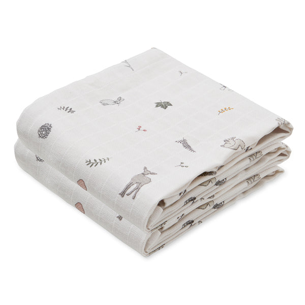 Muslin Cloth, printed, 2 pack - GOTS - Fawn