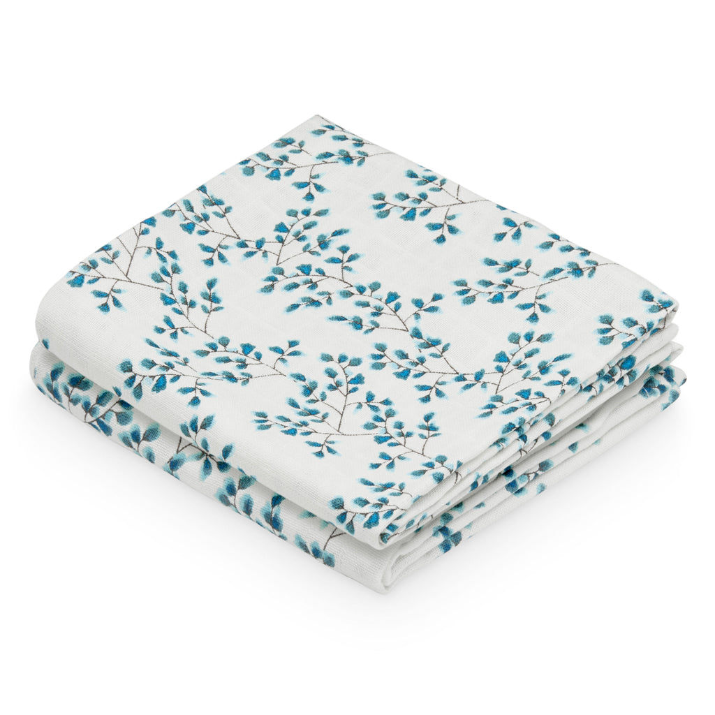 Muslin Cloth, printed, 2 pack - GOTS - Fiori