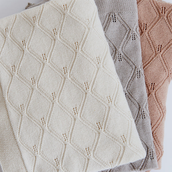 Leaf Knit Blanket 80x100cm - GOTS - Natural