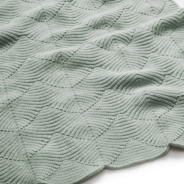 Scallop Knit Throw, 80x100cm - GOTS Dusty Green
