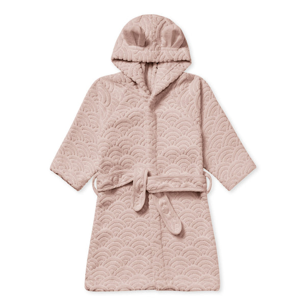 Bathrobe, Hooded w/ ears, 1-2 yrs - GOTS Dusty Rose