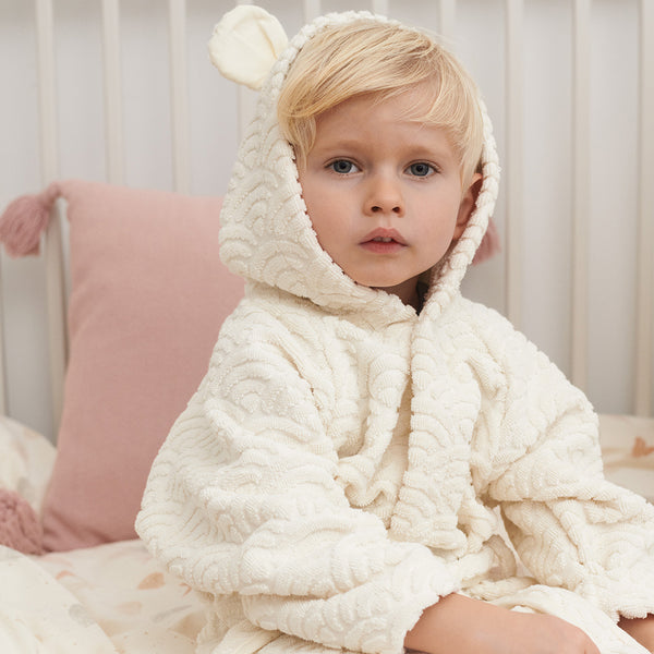 Bathrobe w/ ears, 3-4 yrs - GOTS Petroleum