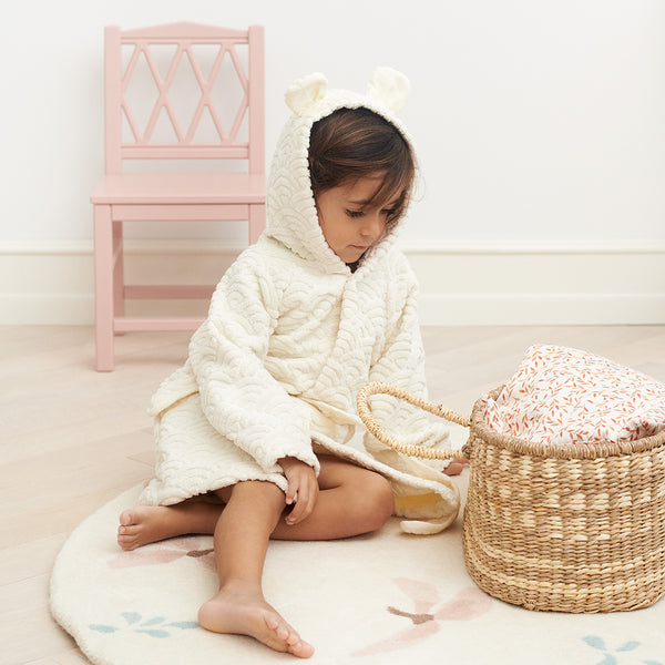 Bathrobe, Hooded w/ ears, 3-4 yrs - GOTS Off-White