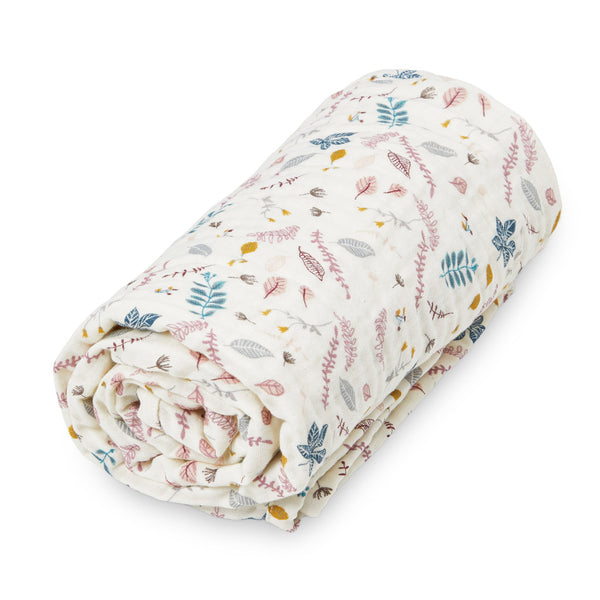 Muslin Blanket, Baby - GOTS Pressed Leaves Rose