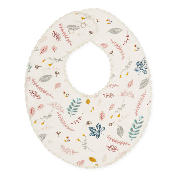 Jersey Teething Bib - GOTS Pressed Leaves Rose