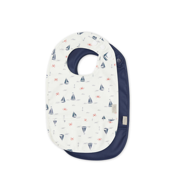 Bib w/ pocket, 2-pack - Sailboats/Navy