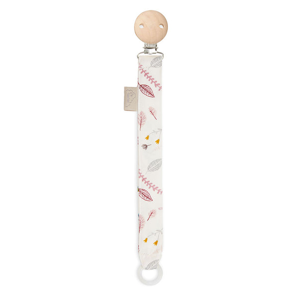 Pacifier Holder - GOTS Pressed Leaves Rose