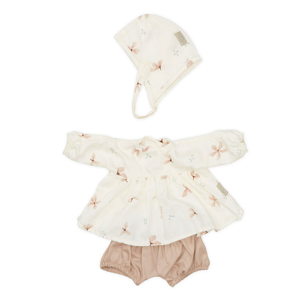 Doll's Clothing Set & Bonnet - GOTS Windflower Creme