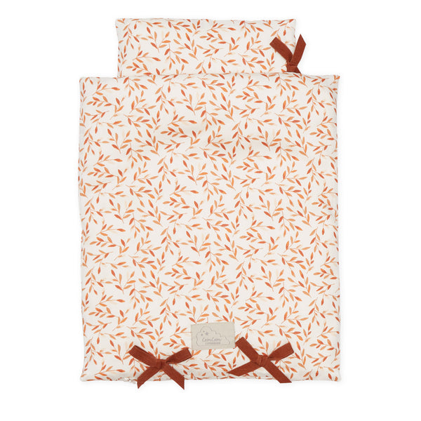 Doll's Bedding - GOTS Caramel Leaves