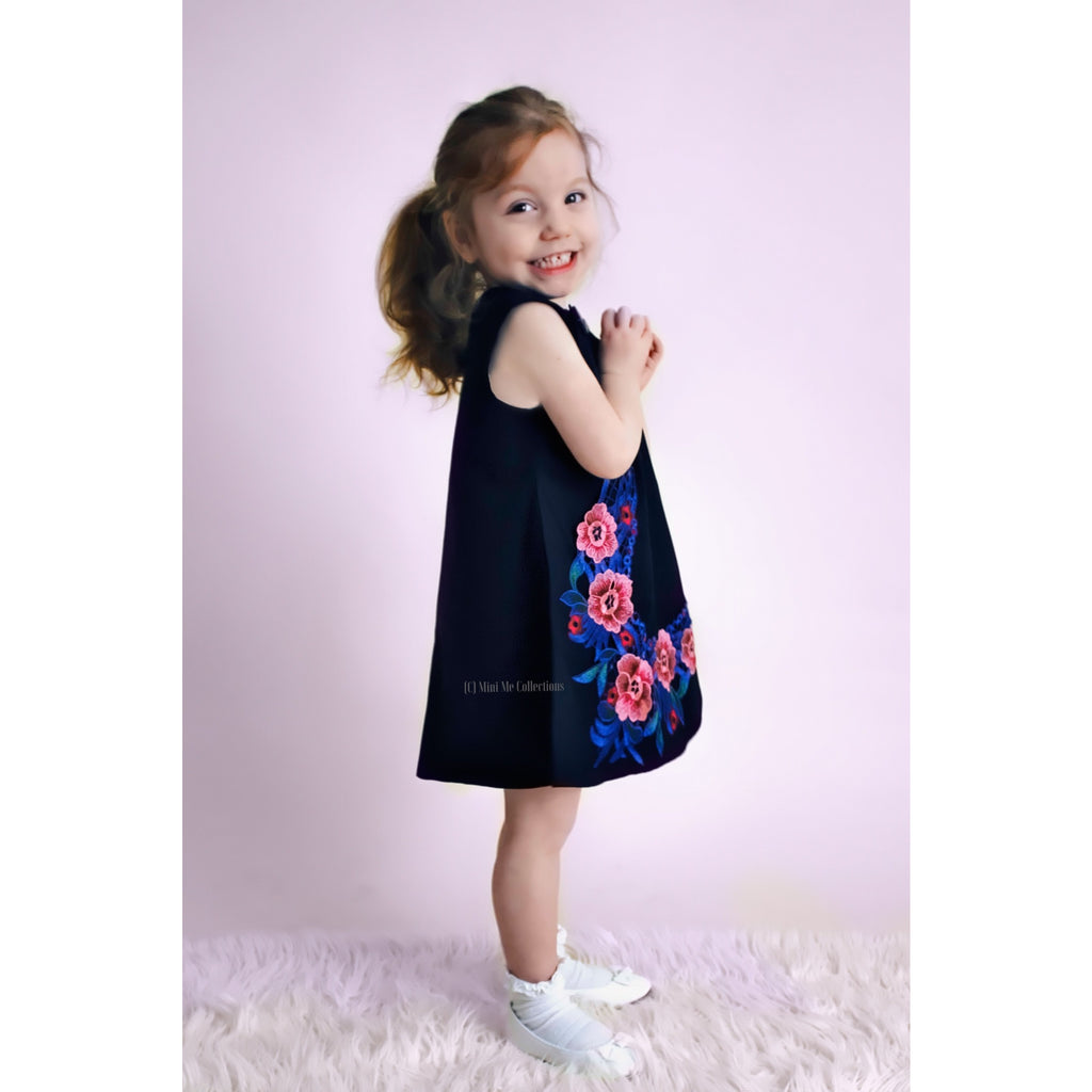 Mini me fashion- girls black embroidered dress in pure cotton