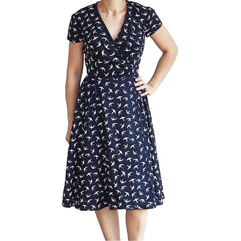 Mini me. Matching wrap dress. Breastfeeding dress. Navy bird print dress. Matching mum outfit.