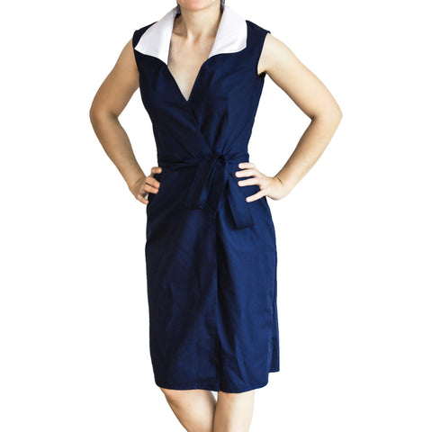 Mini Me Collections - Parisian Navy and white collar dress in pure cotton