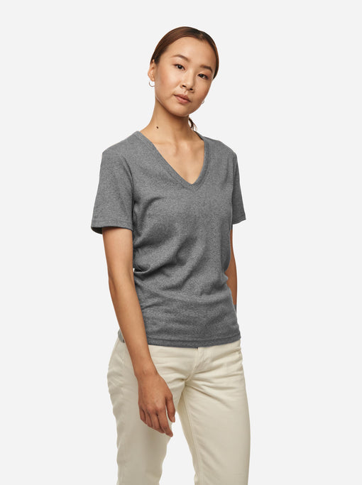 The V-Neck T-Shirt - Melange grey