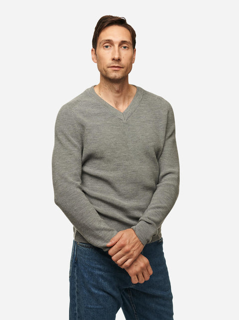 The V-Neck Sweater - Grey