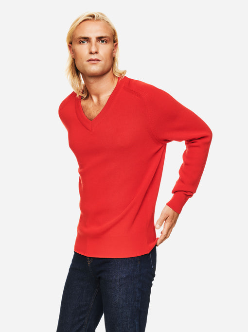 The V-Neck Sweater - Red