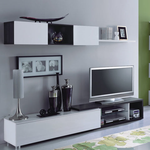Mia Grey Oak With White Gloss TV Unit With Wall Cabinet