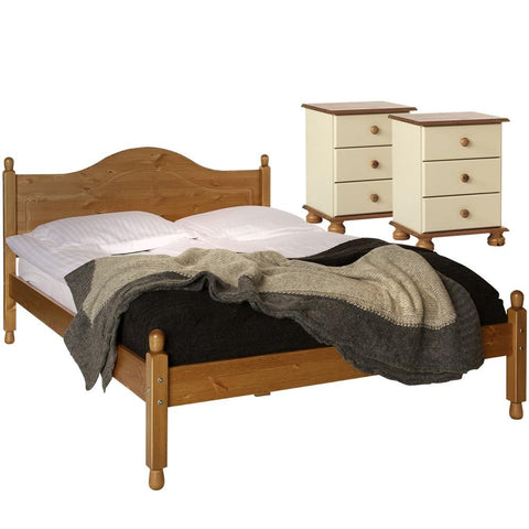 Copenhagen Cream/Pine Furniture Set - 2 Bedside Tables & Double Bed