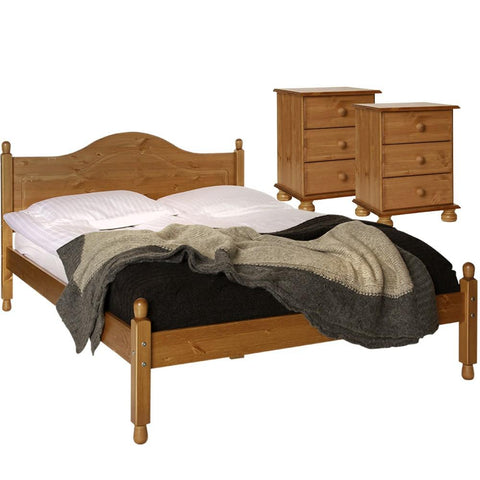 Copenhagen Pine Furniture Set - 2 Bedside Tables & Double Bed