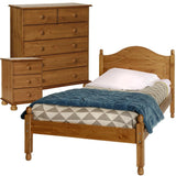 Copenhagen Pine Package - Bedside - 2+4 Chest - single Bed Furniture Sets