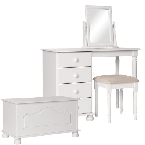 Copenhagen White Furniture Set - Dressing Table, Stool, Mirror & Ottoman