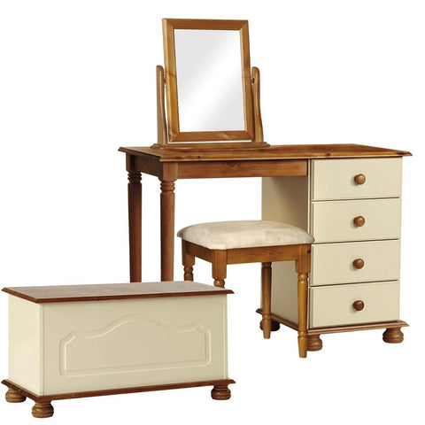 Copenhagen Cream/Pine Bedroom Set - Dressing Table, Stool, Mirror & Ottoman Box