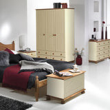 Copenhagen Cream/Pine Furniture Set - Bedside, Chest, Large Wardrobe & Double bed