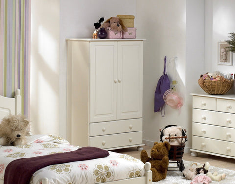 Small White Wardrobe With 2 Drawers