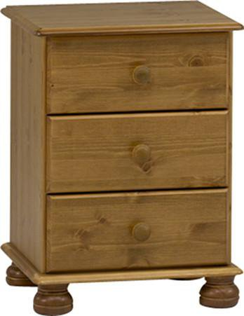 Pine 3 Drawer Bedside Table