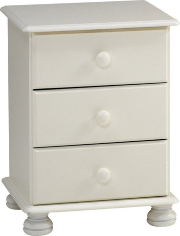 3 Drawer White Bedside Table