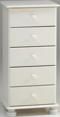 White Tall Chest with 5 Drawers