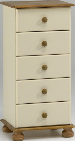 Painted Tall Chest with 5 Drawers