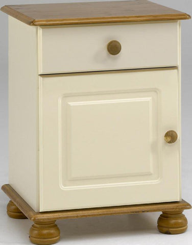 Cream & Pine Bedside Table with Drawer & Door