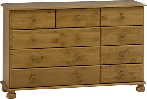 Antique Pine Wide Chest Of Drawers