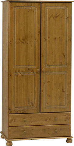 Pine Double Wardrobe with 2 Drawers