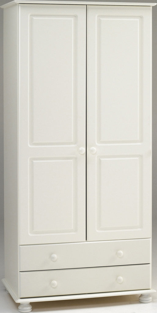 the latest 5d4c8 09871 White Wooden Double Wardrobe with 2 Drawers