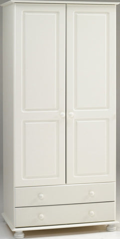 White Wooden Double Wardrobe with 2 Drawers