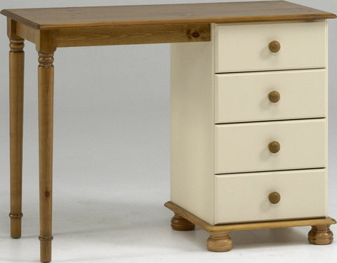 Cream & Pine Dressing Table Set With 4 Drawers