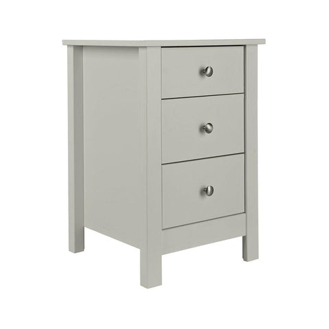 Florence 3 Drawer Bedside in Soft Grey
