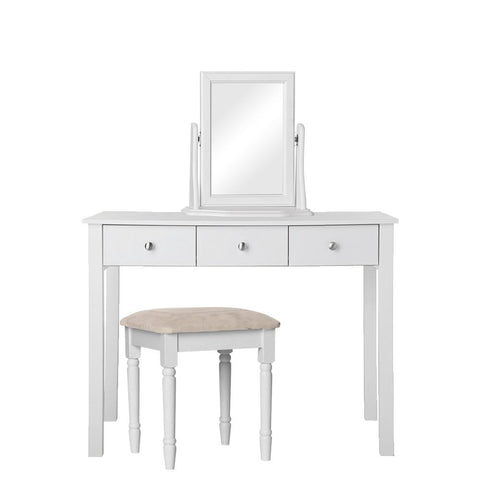 Florence White Package Dressing Table + Stool + Mirror Furniture Sets